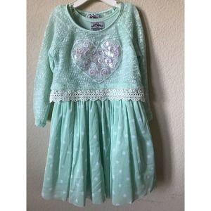 Knit Works Heart Polka Dot Lace Trim Dress Set